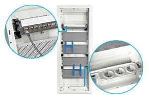 В комплекте патч-корд, перфорированные монтажные платы, три электрические розетки для питания активных компонентов, держатели для слаботочных устройств