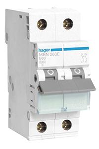 Вводной двухполюсный автоматический выключатель производства Hager на 63А.